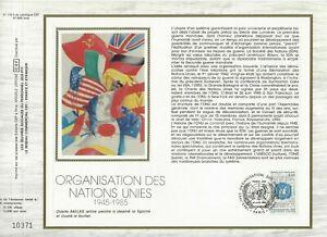 Foglio-CEF-1er-Giorno-Sul-Seta-Francia-Organisation-Delle-Nazioni-Uniti-1985