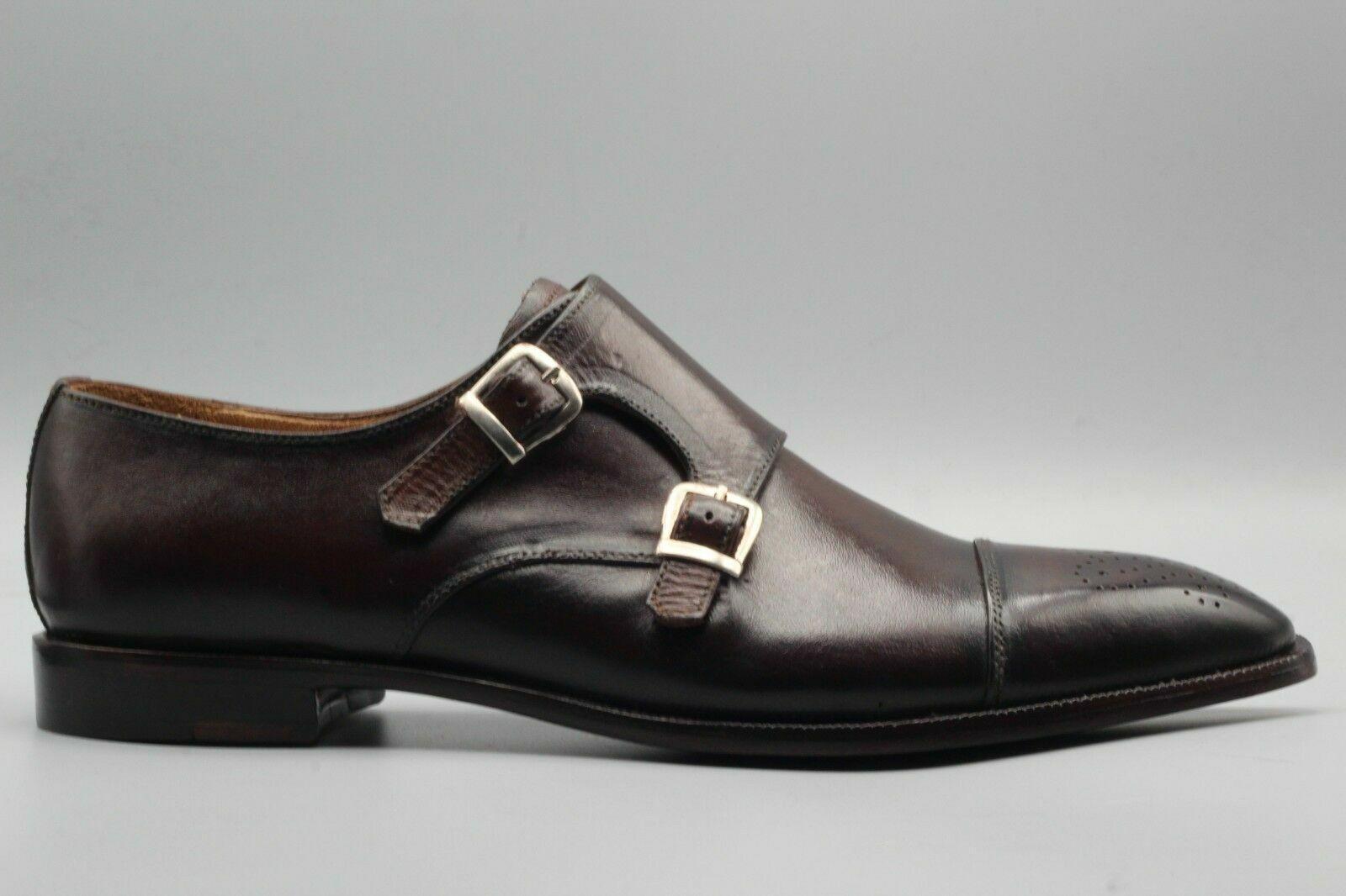 Handgemachte Herren echte braune Leder Doppel Mönch Oxford Brogue Schuhe