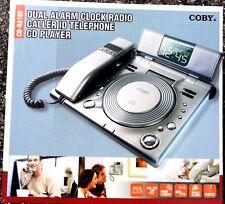 COBY DUAL ALARM CLOCK  RADIO CALLER ID TELEPHONE CD PLAYER