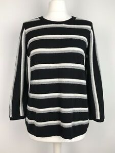 Jigsaw-Jumper-Size-M-12-14-With-Lambswool-amp-Cashmere-Striped-Preppy-Soft-Knit