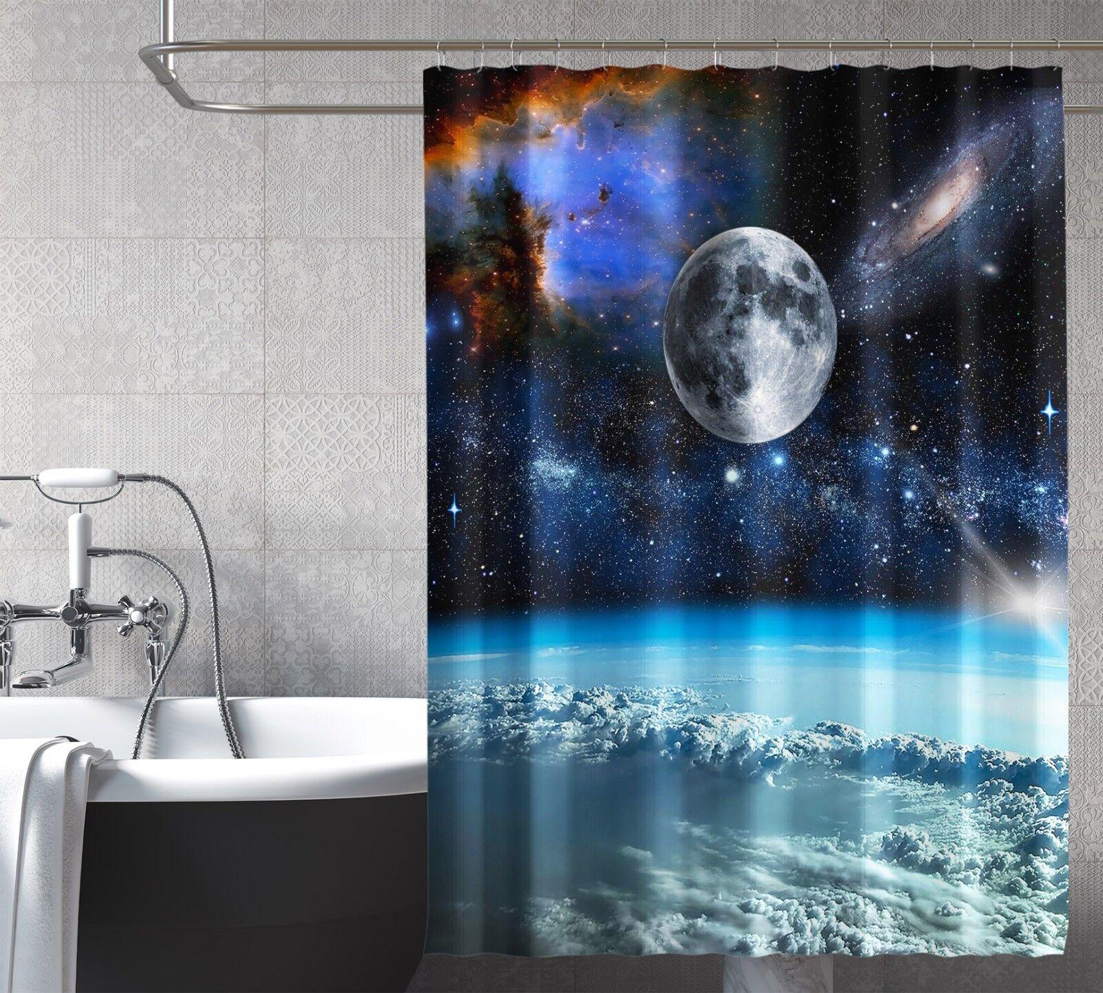 3D Raum Planet 69 Duschvorhang Wasserdicht Faser Bad Daheim Windows Toilette DE