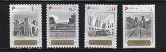 SINGAPORE 2013 HISTORICAL RAILWAY STATIONS COMP. SET OF 4 STAMPS IN MINT UNUSED