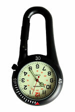 Carabiner Brand Black Clip on Carabiner FOB Nurse Doctor Watch Luminous Face