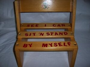 Phenomenal Details About Solid Wood Step Stool Seat Children Kids Vintage Still In Box Caraccident5 Cool Chair Designs And Ideas Caraccident5Info