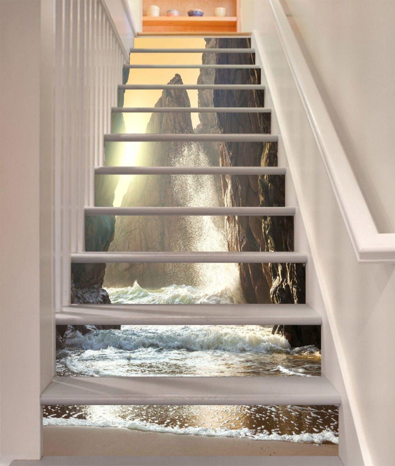 3D Meer Berge 2135 Stair Risers Dekoration Fototapete Vinyl Aufkleber Tapete DE