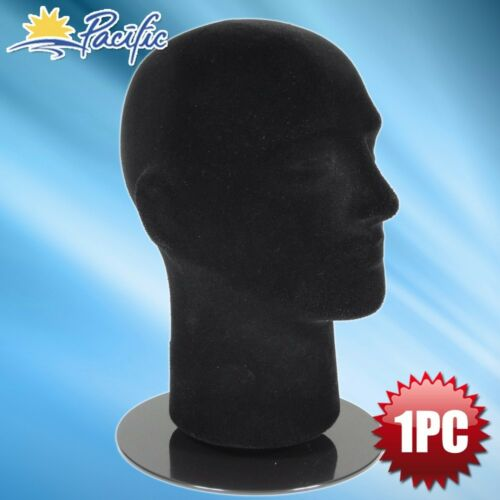 "Male foam black velvet MANNEQUIN head holder stand display wig hat glasses 11/"""