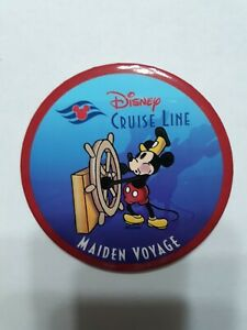 DISNEY-CRUISE-LINE-MAIDEN-VOYAGE-PIN-BACK-BUTTON-MICKEY-MOUSE-STEAMBOAT-WILLIE