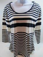 Womens Tommy Hilfiger 3/4 Sleeve T-shirt White & Navy Stripes Medium