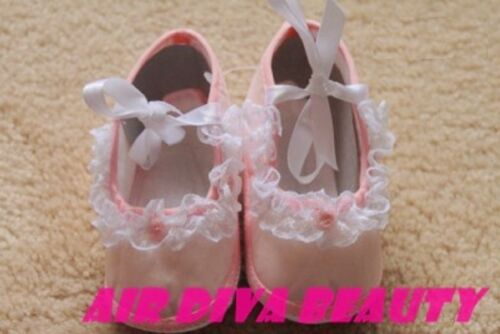 Baby Girl Cute Classic Pink Soft First Lace Ruffle Princess shoes 0-6mths