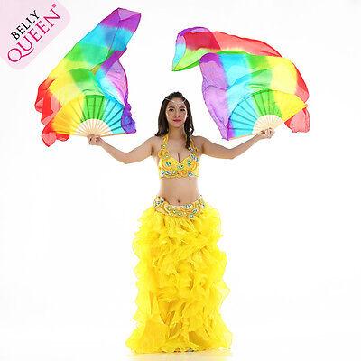 Discount! 2pcs=1set 1.8m0.75m rainbow belly dance Fan Silk Veil, free shipping