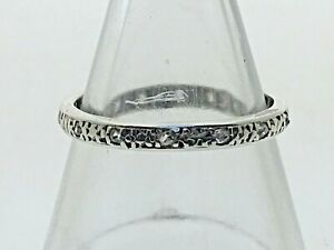 Vintage-Platinum-amp-Diamond-Textured-Full-Eternity-Band-Ring-1-2g-size-L