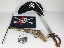 Bambini Set adulto pirata PISTOLA spada Eyepatch Cappello Bandiera Festa in Costume Pirati