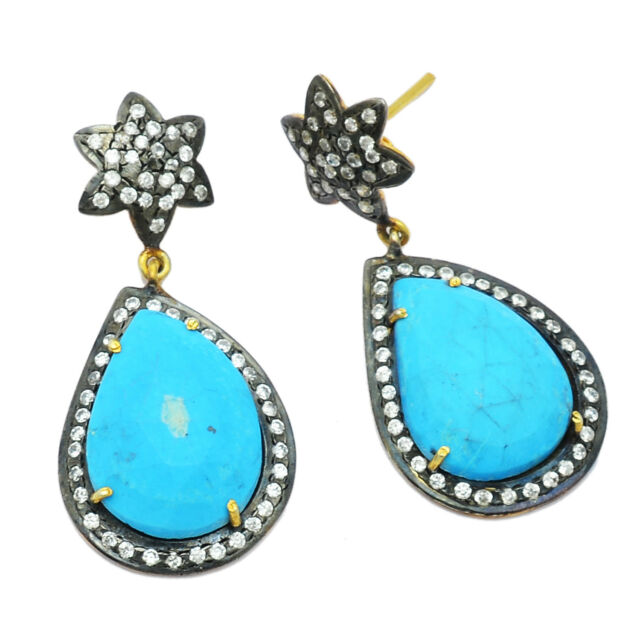 Turquoise Gemstone Oxidized 925 Sterling Silver Dangle Earring