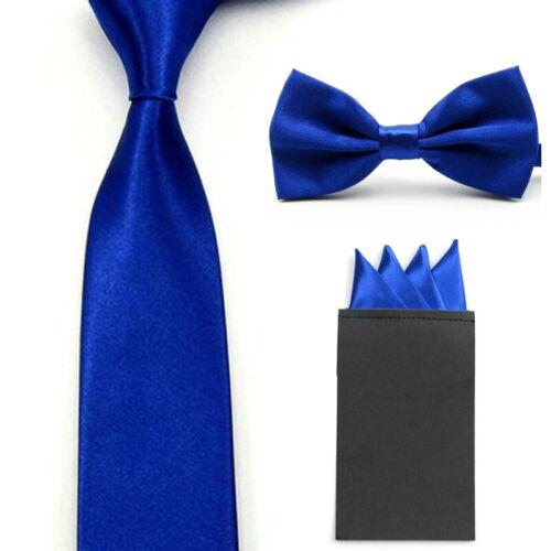 Men/'s Solid Bow Tie Skinny 5CM Necktie With Handkerchief Pocket Square Set