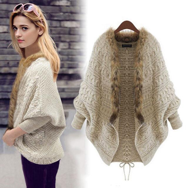 Women Loose Fur Collar Batwing Sleeve Knit Sweater Cardigan Jacket Jumper Coat