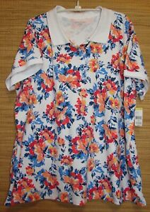 Laura-Scott-Woman-Plus-Size-3X-Floral-Knit-Polo-Pullover-Top-Shirt-New-With-Tag