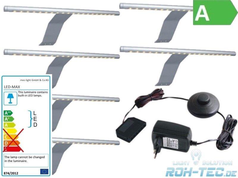 1-6x LED StaBlauchte Möbelleuchte - Schrankleuchte - Komplettset (6400K)