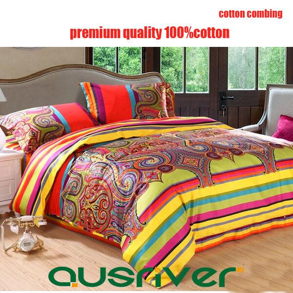 4pcs Premium Florence Double Queen Size Bed Quilt Doona Cover Sets 100% Cotton
