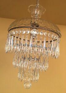 Details About Vintage Lighting 1940s Wedding Cake Crystal Chandelier