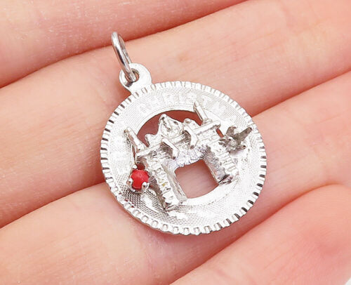 Sterling silver handmade pendant stamped sterling 021073 Vintage solid 925 silver coin engraved merry Christmas