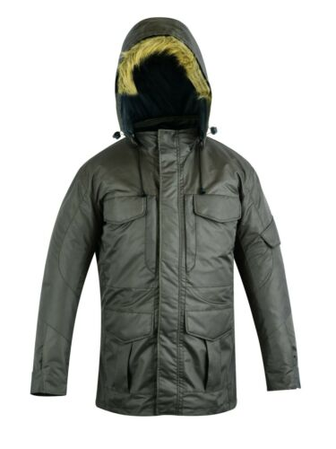 Warrior Classic New Mens Waterproof Hooded Polyester Quilted Parka Jacket Coat