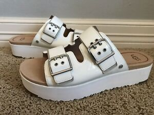 9bc5622d911 Details about New UGG Women's Cammie Wedge Footbed White Patent Leather  Sandals Sz 11 $130