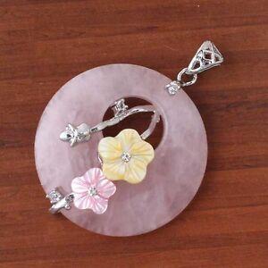 Natural-Rose-Quartz-Crystals-Inlay-Shell-Flower-Round-Hollow-Reiki-Stone-Pendant