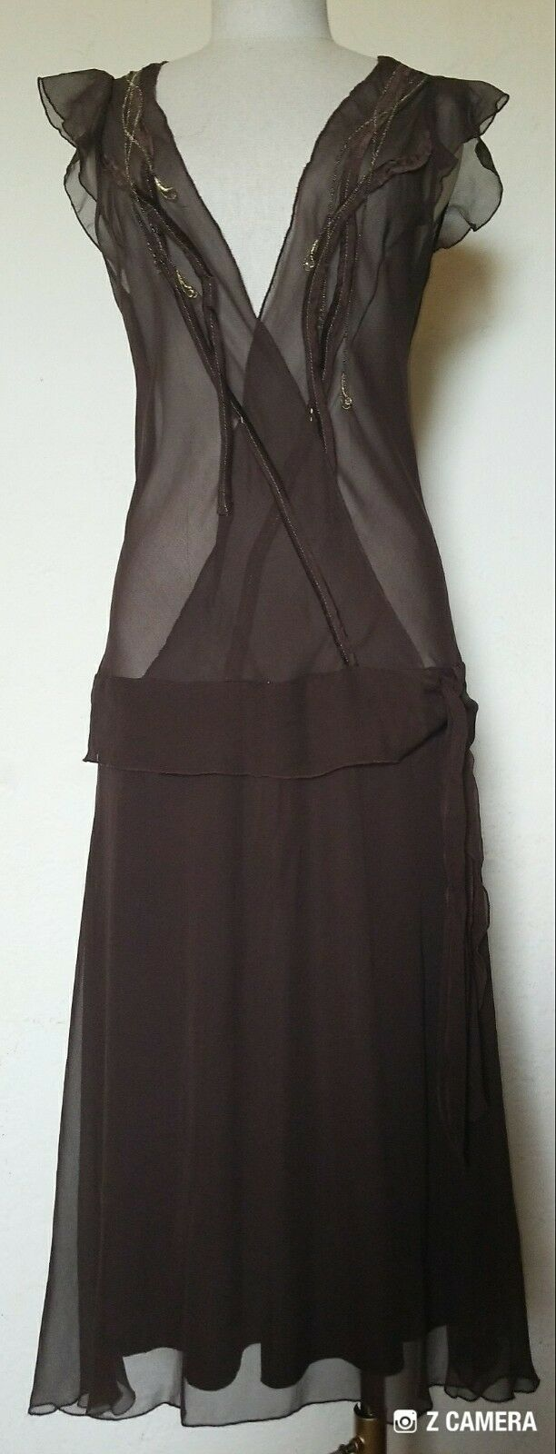 16dbabd3356 Handmade Drop Waist Top Dress Size 10 12 Shear Brown neudpl10946 ...