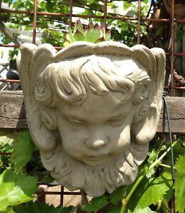 Engel Putten Kopf Zum Bepflanzen Kunst Sandstein Steinguss Antik Look B 03 Grau Ebay