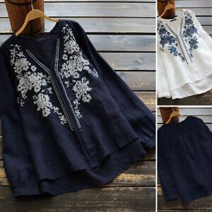 Automne-et-Hiver-Femme-Col-V-Manche-Longue-Broderie-Floral-Coton-Shirt-Tops-Plus