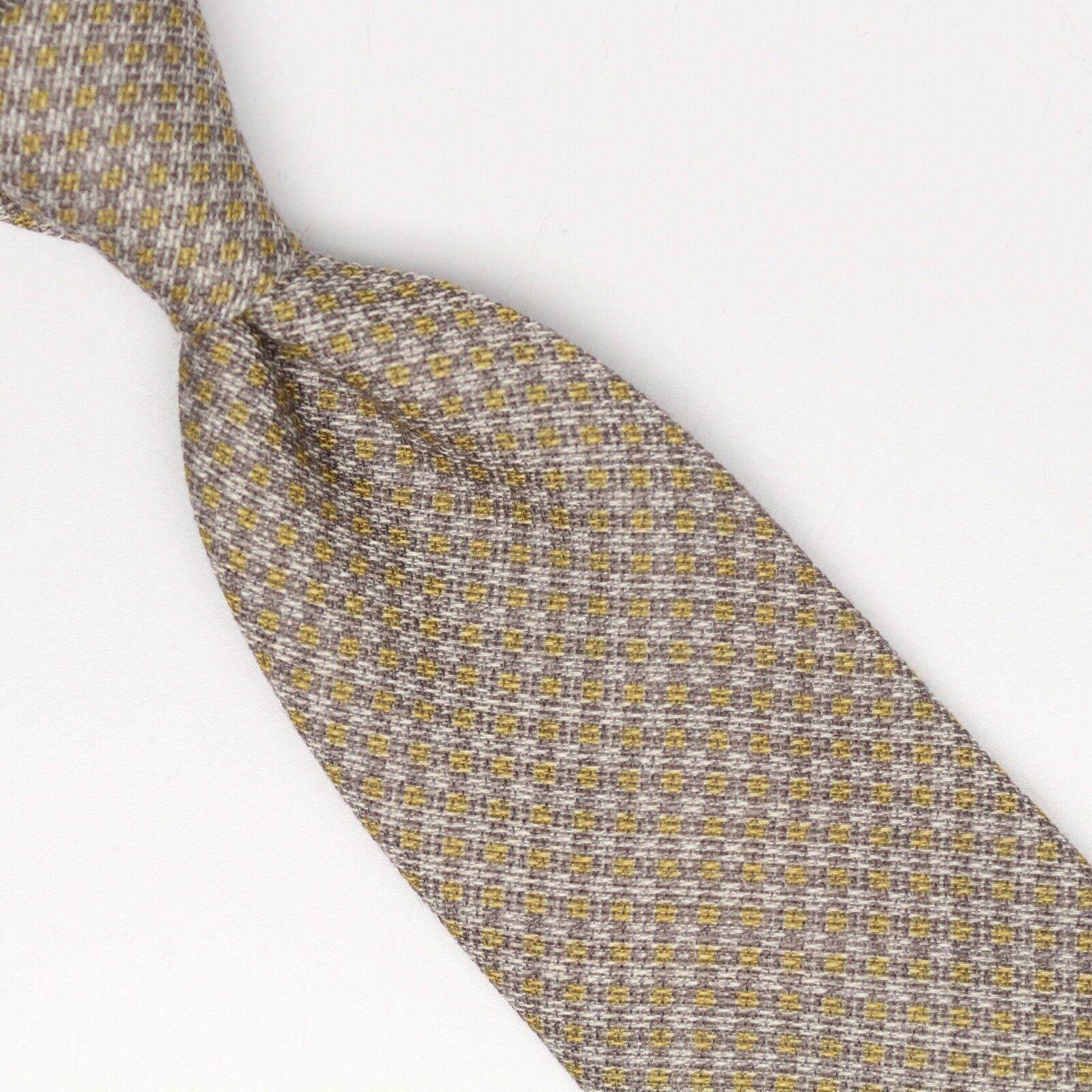 Josiah France Herren Wolle Seide Krawatte Grau Gold Kariert Aufdruck Lose Gewebe