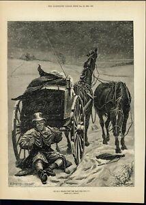Mailman-Drinking-Snowstorm-Smoking-Pipe-Smiling-1882-antique-wood-engraved-print
