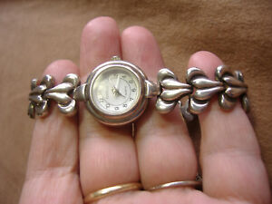 VINTAGE-HEAVY-STERLING-SILVER-WATCH-AND-BAND-HEAVY-BATTERY-GIANELLO