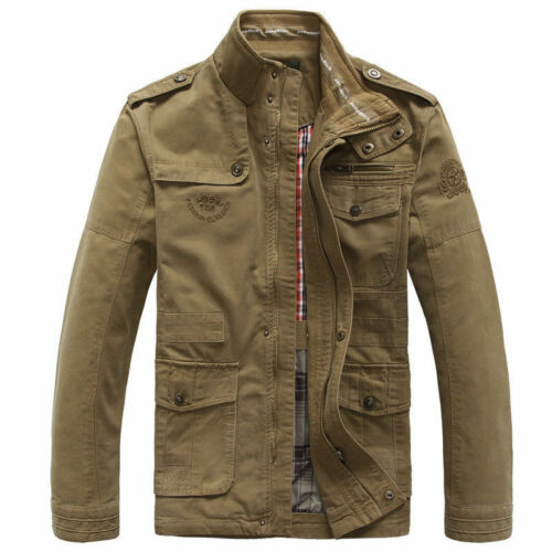 Jeep Mens Outdoor Autumn 100/% Cotton Zipper Warm Coat Jacket Winter Casual Tops