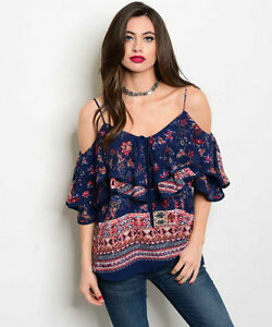 New-USA-Cowgirl-Boho-Peasant-Floral-Cold-Shoulder-Ruffle-Western-Blouse-Top-M