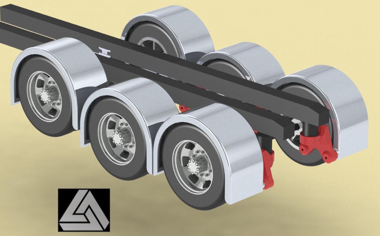 1 32 3D Printed 100  Low Rider Single Axle Fenders-Hogebuilt Style Triple Humps
