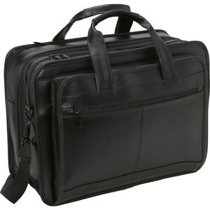 Samsonite-Leather-Expandable-Briefcase-Black-Non-Wheeled-Business-Case-NEW