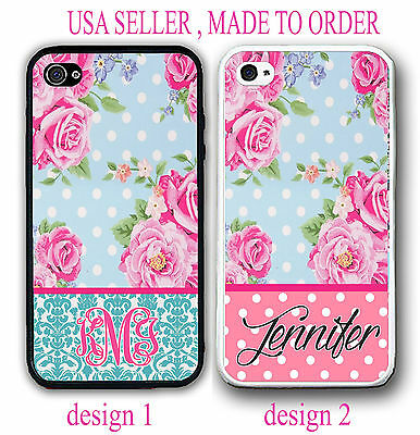 TEAL DAMASK PINK DOTS VINTAGE ROSES FLORAL MONOGRAM CASE FOR  IPHONE 7+ 6 6S+ SE
