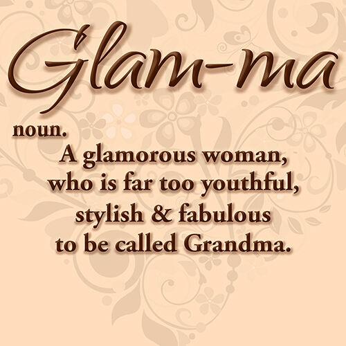 """NEW /'GLAM-MA/' Glamorous Youthful Fabulous Woman Grandma 16/"""" Pillow Cushion Cover"""