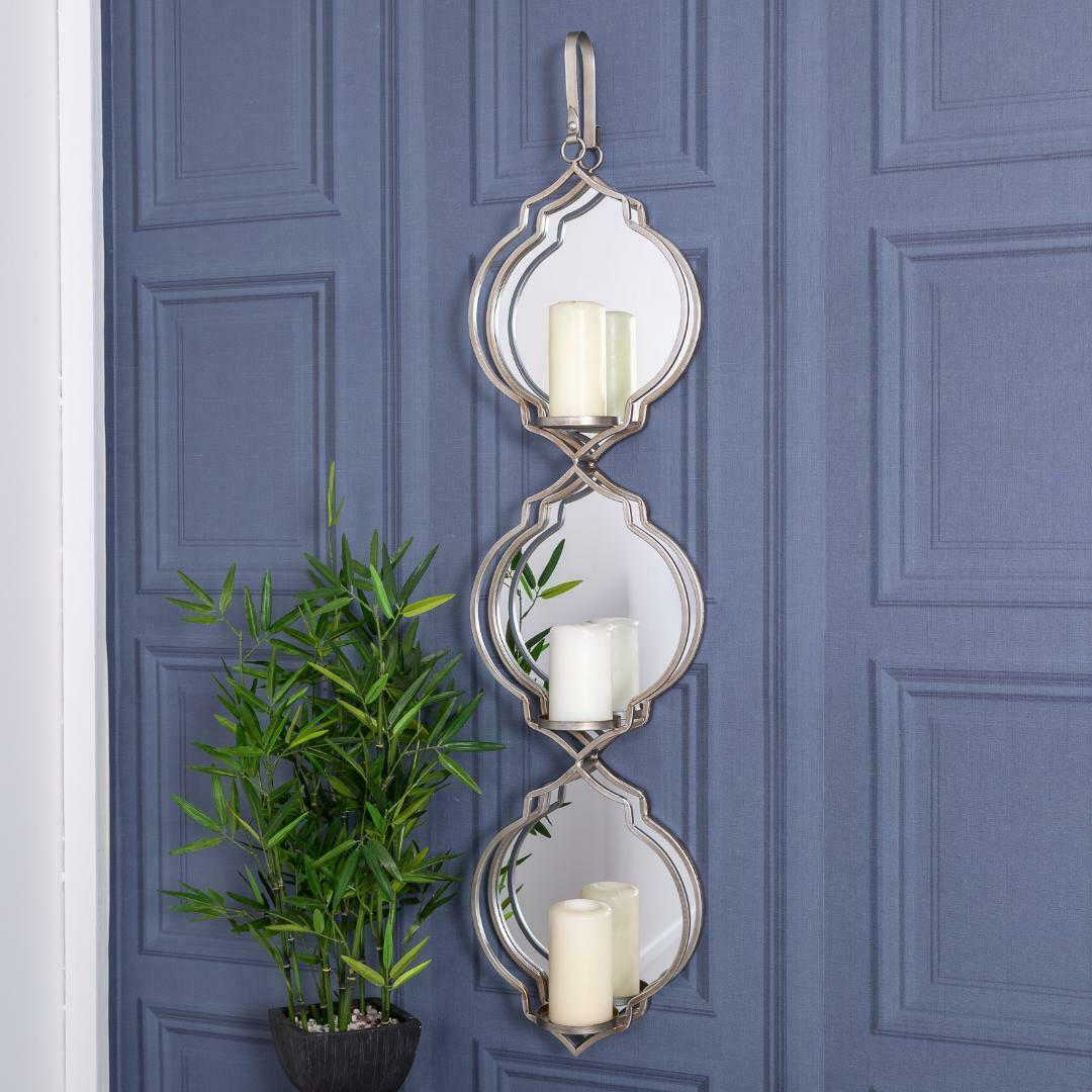 Large Mirrored Silver Candle Holder Wall Sconce Metal Glass Hanger Home Living Ebay