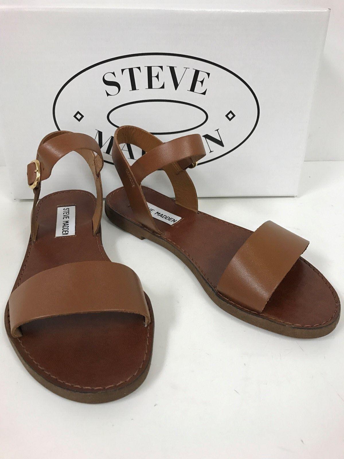Steve Madden donddi Bronceado Bronceado Bronceado Sandalias superior de cuero con correa de tobillo abrochado-Nuevo  Tienda de moda y compras online.