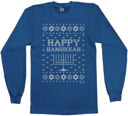 Ugly Sweater Threadrock Men/'s Happy Hanukkah Long Sleeve T-shirt Hebrew