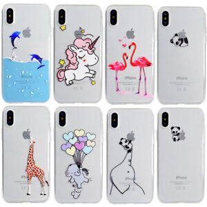 promo code a7335 a020f Details about Cartoon Unicorn Animals Soft TPU Gel Clear Case Cover For  iPhone X 5 6 7 8 plus
