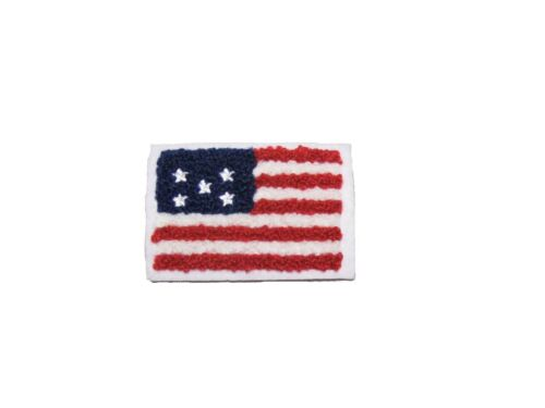 """2.5/""""x1.75/"""" Patriotic Chenille American Flag Sew On Applique Patch Motif by Piece"""