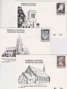 Stamps Australia Warwick Queensland historical buildings set of 7 PSE's