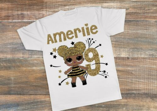 CHILDRENS PERSONALISED T SHIRT*BIRTHDAY ANY AGE*LOL DOLLS  QUEEN BEE ref2