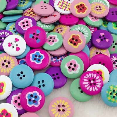 New 10/50/100/500pcs Wood Buttons 20mm Sewing Craft Mix Lots Wholesales WB218