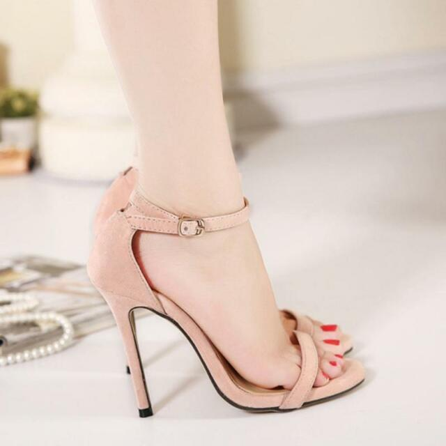 GOLD AND BLACK STRAPPY SANDALS PEEP TOES HIGH HEELS STILETTOS SHOES ANKLE STRAP