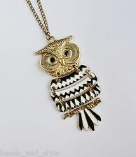 Long vintage antique golden b&w owl chain big pendant / fashion jewelry necklace