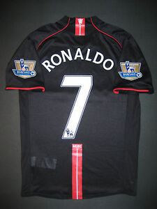 check out 5ea86 efa09 Details about 2007/2008 Nike Manchester United Cristiano Ronaldo Jersey  Shirt Kit Away Black